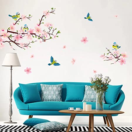 Bilder Fur Das Wohnzimmer | Wandsticker4u Xl Wandsticker Pfirsich Blumen Mit Vogeln Wandbild