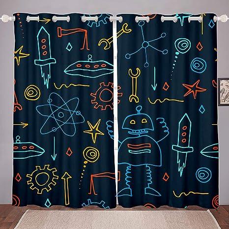 Erosebridal Nursery Robot Window Drapes Cartoon Robot Curtain Panels Ufo Rocket Window Treatments For Kids Boys Girls Gear Machine Science Window Curtains 104w96l Blue Orange Child Bedroom Decor Home Kitchen