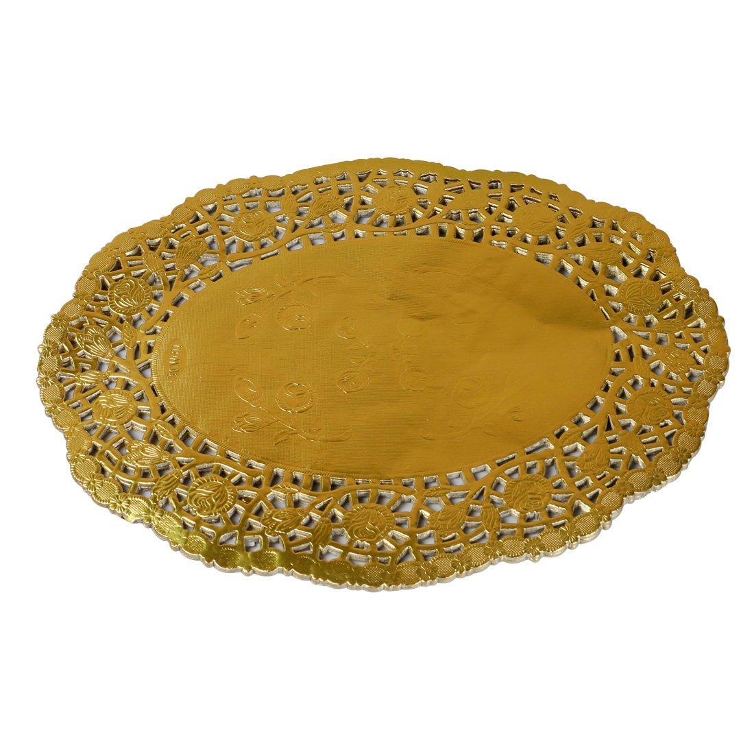 Geeklife Lace Paper Doilies, Disposable Gold Foil Oval Paper Doilies, 10.5 x 14 Inches,40 Pcs