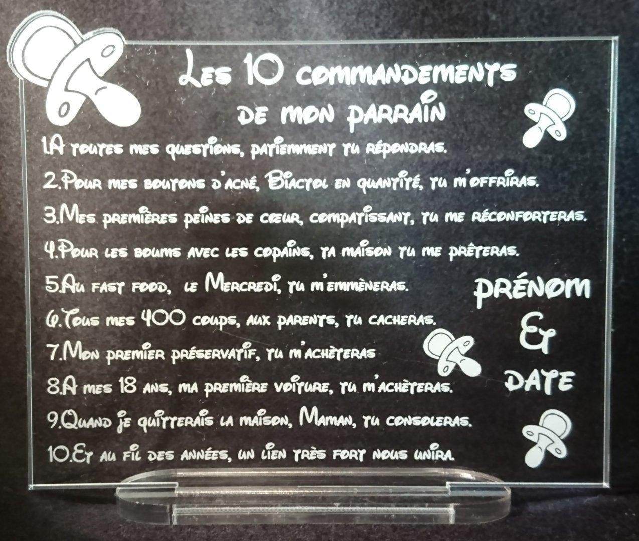 cadeau parrain marraine les 10 commandements tétine baptême communion avec prénom