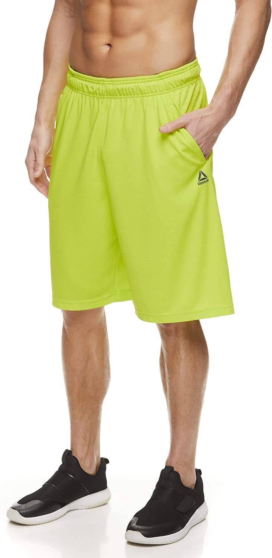 Reebok Mens Mesh Basketball Gym /& Running Shorts w//Elastic Drawstring Waistband /& Pockets