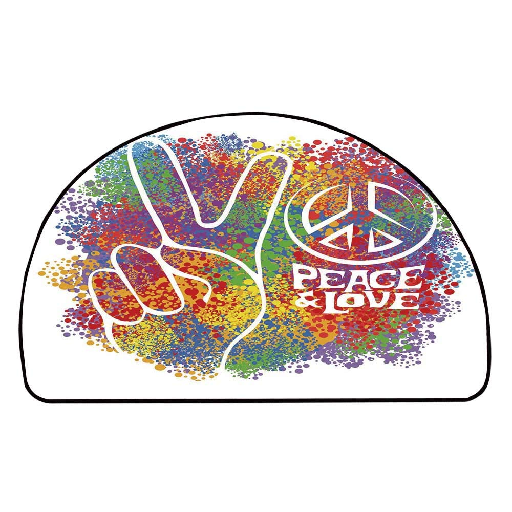 C COABALLA 70s Party Decorations Comfortable Semicircle Mat,Hippie Peace and Love Symbol and Signs Two Fingers Antiwar Colorful Decorative for Living Room,11.8'' H x 23.6'' L