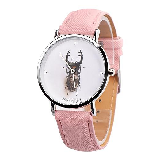 Amazon com: Brand Vavna Creative Unisex Beetle Print Leather Quartz