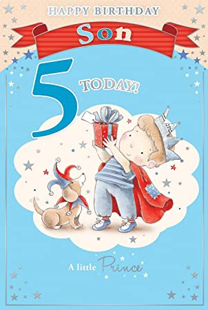 Sons 5th birthday card 5 today little boy in crown holding sons 5th birthday card 5 today little boy in crown holding present 9quot bookmarktalkfo Image collections