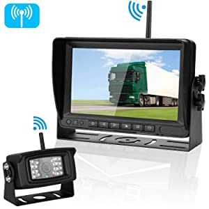 Emmako Digital Wireless Backup Camera and 7'' Monitor System for RV/Truck/Trailer/Camper IP69K Waterproof Night Vision Rear/Front View No Distortion Camera Reversing/Driving Use