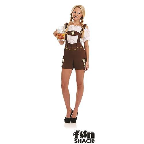 Ladies Bavarian Lederhosen Girl Costume German Festival Oktoberfest Fancy Dress