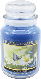 product image for A Cheerful Giver Butterflies 24 oz Jar Candle, Blue
