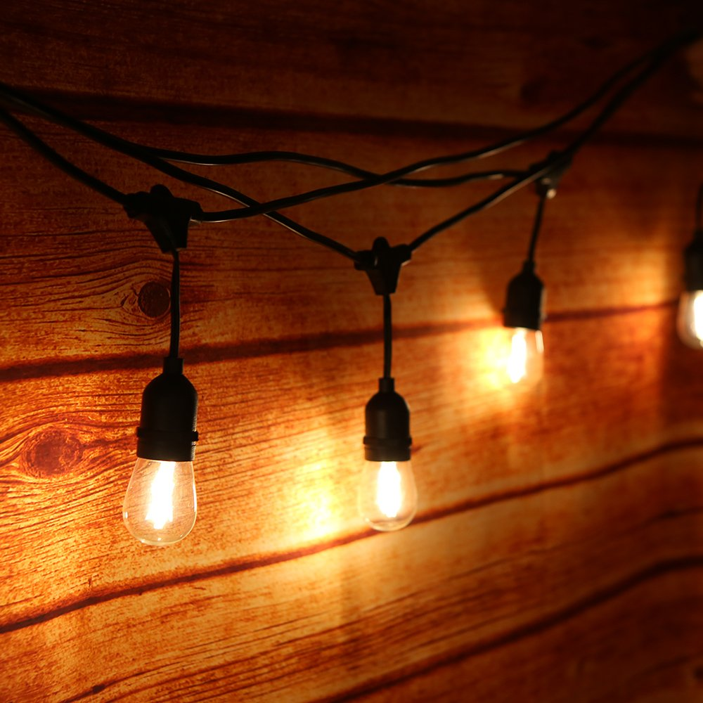 Tomshine Luz de Cadena LED 15m IP65 Impermeable 15pcs LED Filamento Bombilla String Light Kit E27 Base para Fiesta de Cumpleaños Boda Navidad Lugares de Entretenimiento 40 LED