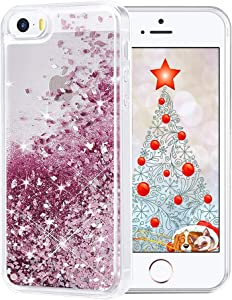 Maxdara Case for iPhone SE 5S 5 Case Glitter Girls Liquid Bling Sparkle Luxury Gifts Pretty Fashion Phone Case for iPhone 5 5S SE (Rosegold)