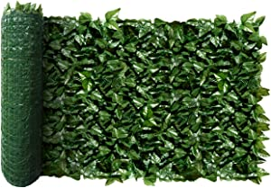 "FLORALEAF Artificial Faux Ivy Privacy Fence Screen Hedges Trellis Leaves Panels with Mesh Backing Vine Decoration Natural Looking for Outdoor Decor, Garden, Yard, 39""x117"""