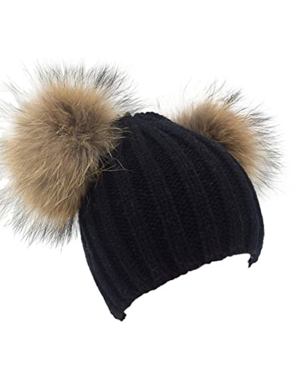 Winter Knit Crochet Beanie Raccoon Fur Double Pom Pom Ball Bobble Hat  Crochet Ski Cap ( 726a073eed1
