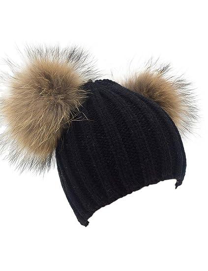 60a40e9ef7b49 Winter Knit Crochet Beanie Raccoon Fur Double Pom Pom Ball Bobble Hat  Crochet Ski Cap (