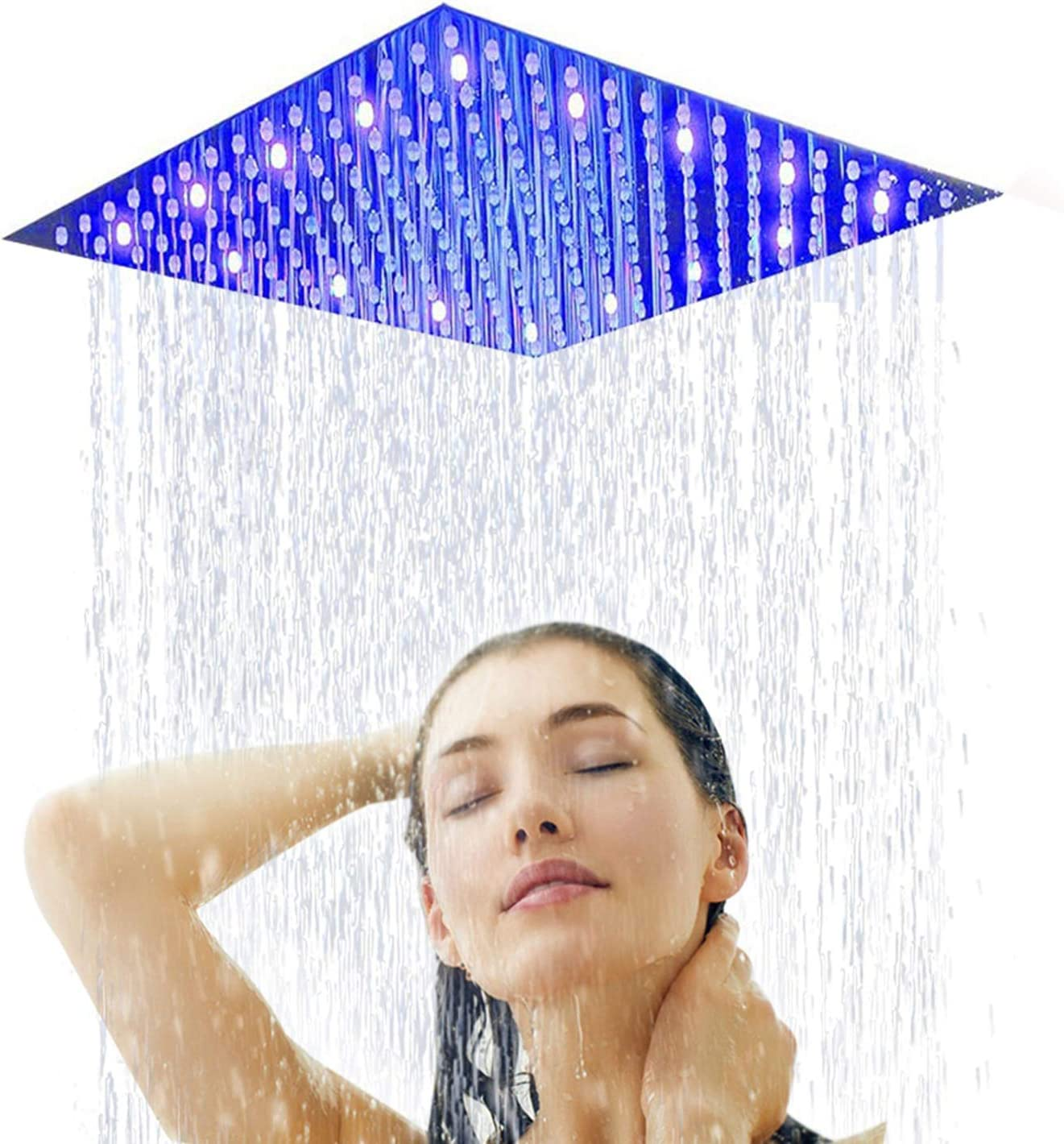 Sd 16Square Brushed Nickel Rain Showerhead Ultra Thin Rainfall Bath Shower with Silicone Nozzle Easy to Clean and Install Large Stainless Steel Shower Head