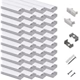 hunhun 40-Pack 3.3ft/1Meter U Shape LED Aluminum Channel System with Milky Cover, End Caps and Mounting Clips, Aluminum…