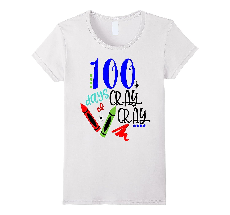 100 Days Of School Shirt Funny Kids Teacher Cray Crayon