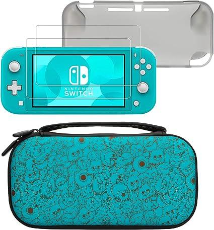 Para la funda nintendo switch lite, diseñada para la nueva Nintendo Switch Lite 2019 que incluye 2 paquetes de vidrio templado 9H, 1 caja delgada de TPU, 1 caja liviana de almacenamiento: Amazon.es: Videojuegos
