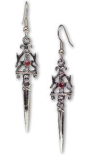 Gothic Dagger Sword Medieval Renaissance Silver Finish Dangle Earrings I8AvU2OSvn