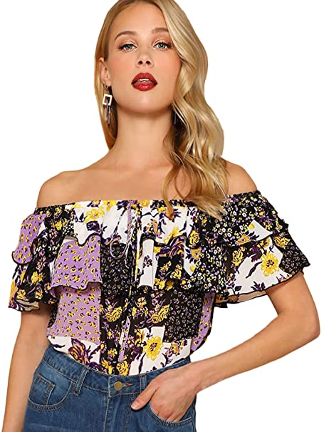 402fa1011d SHEIN Women's Off The Shoulder Ruffle Tassel Scalloped Hem Blouse Top  X-Small Floral