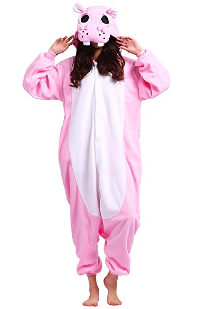 Kigurumi Pijama Animal Entero Unisex para Adultos con Capucha Cosplay Pyjamas Rosa Hipopótamo Ropa de Dormir Traje de Disfraz para Festival de Carnaval ...
