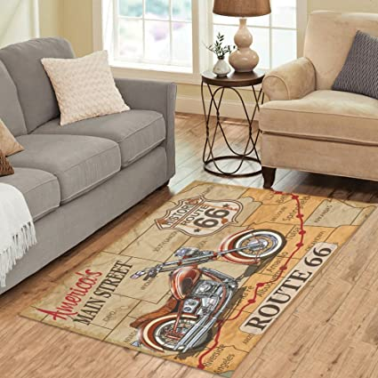 InterestPrint Carpet Vintage Route 66 Motorcycle Area Rug 5u0027x 3u00273, American