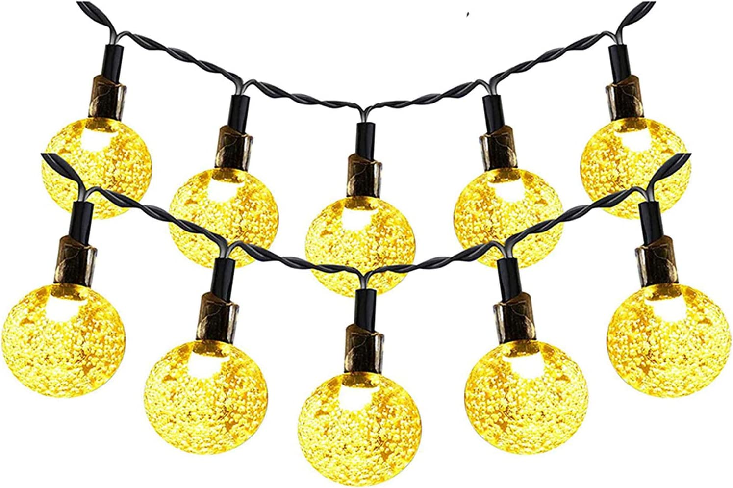 Solar String Lights Outdoor, 36FT 60 LED Solar Powered Patio Lights Waterproof Globe Crystal Ball Fairy Light, 8 Modes Home, Garden, Party, Patio Decor, Festival Decorative Lighting(Warm Whtie)