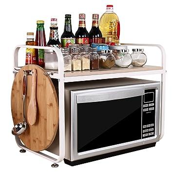 Acero Blanco 2 capa D37cm W59cm H47cm estante horno microondas cocina aparadores y 8 ganchos WJG6047