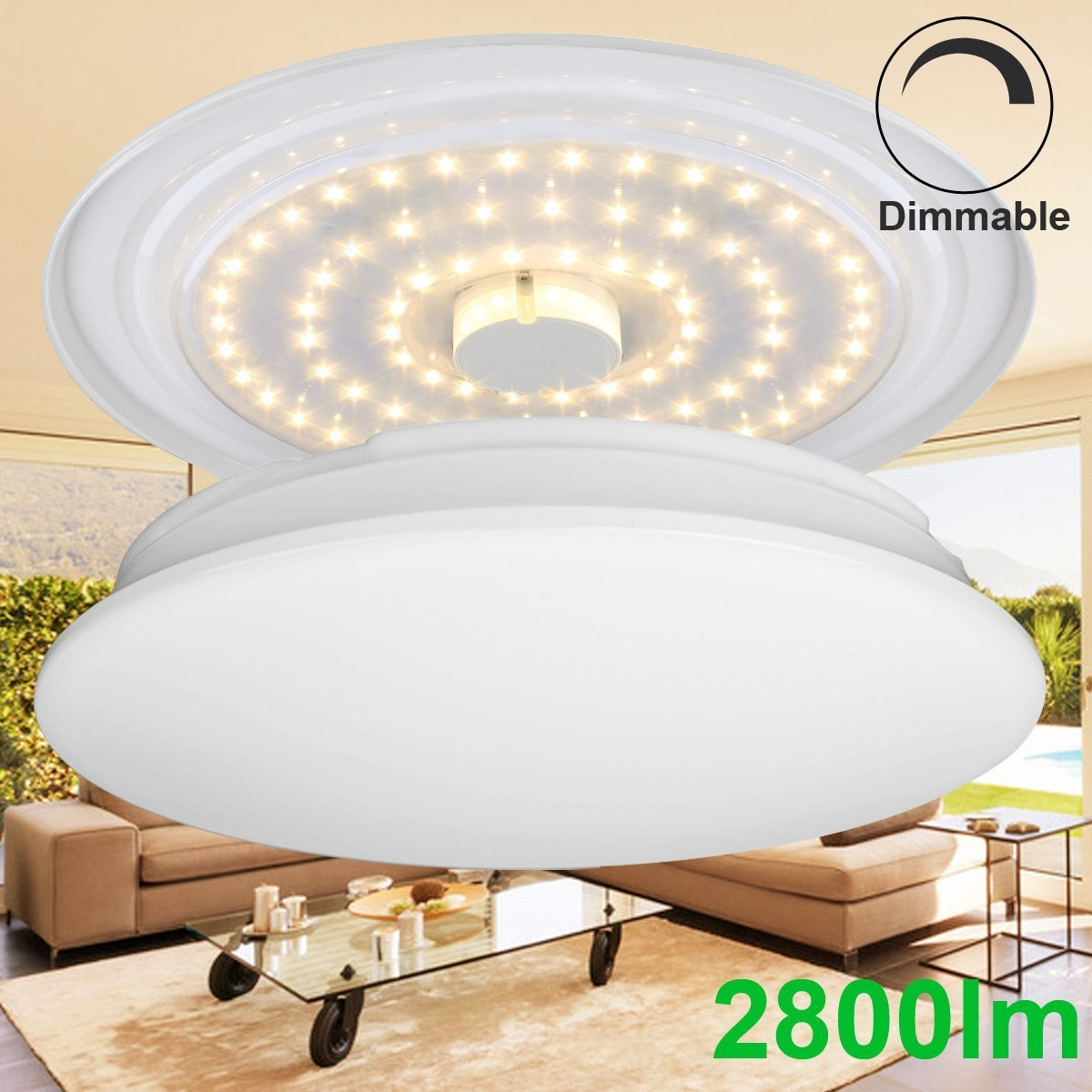 Mount Ceiling Light Fixtures 225W Incandescent 80W Fluorescent Bulbs Equivalent 2800lm Warm White 3000K Lighting For Bedroom Living Room