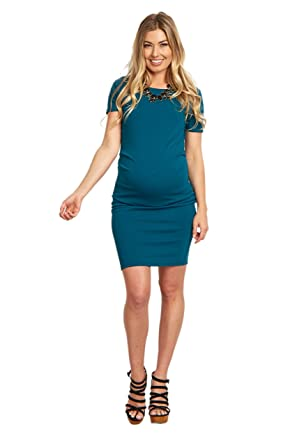 e58d22b4a6e62 Image Unavailable. Image not available for. Color: PinkBlush Maternity Teal Short  Sleeve Fitted Maternity Dress ...