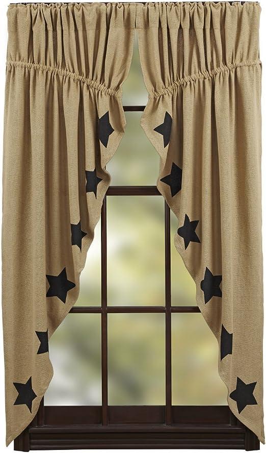 "VHC Farmhouse Primitive Black Check Star Tier Cafe Curtain Pair 24/"" x 36/"""