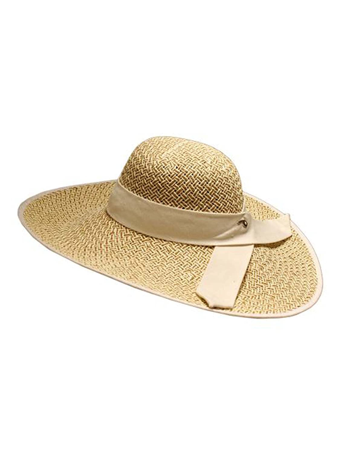 c867adc75f5 Luxury Divas Natural Woven Wide Brim Floppy Hat at Amazon Women s Clothing  store  Sun Hats