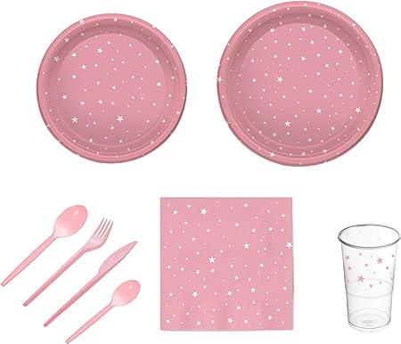Pack para Fiesta Infantil, Baby Shower o cumpleaños con diseño de Estrellas - Color Rosa - Set de vajilla de plástico para 12 Personas - 120 Piezas: Amazon.es: Hogar
