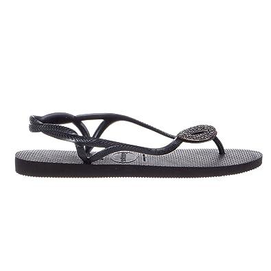 da99188eba6643 Havaianas Women s Luna Special Flip Flops Black Dark Grey Sandal