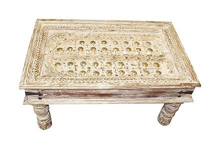 Wondrous Amazon Com Mogul Interior Antique Indian Coffee Table White Inzonedesignstudio Interior Chair Design Inzonedesignstudiocom