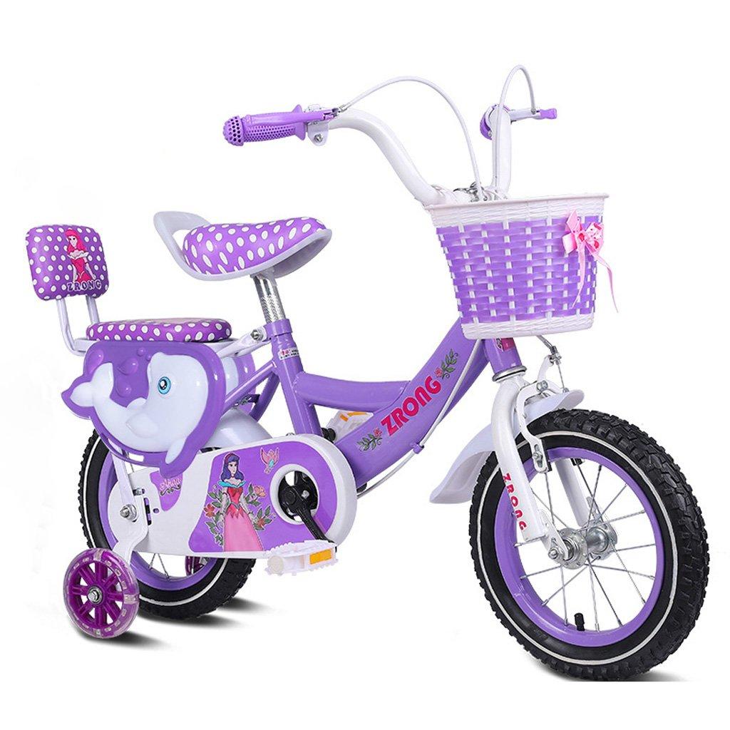 子供の自転車3-5歳の女の子の自転車14インチのベビーベビーカー高炭素スチールフレームバイク、ピンク/パープル/ブルー (Color : Purple) B07CZ3BHMM