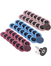 2-Inch Fine/Medium/Coarse Assorted Roll Lock Roloc Sanding Discs by LotFancy - 45PCS Surface Conditioning R-Type Quick Change Disc with Roloc Disc Pad Holder