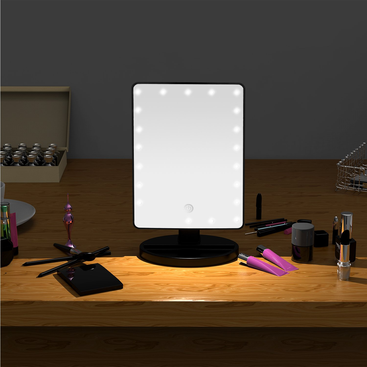 Lighted Makeup Mirror Led Touch Sensor Dimming Vanity Mirror/Cosmetic Mirror with Organizer Base Detachable 10X Magnification Battery/USB for Power (Black)