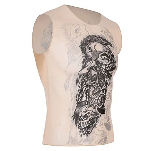 d90c70a4 YiZYiF Fashion Men's Fake Tattoo Tribal Inspired Print Sleeveless Vest Tank  Tops Nude D One Size