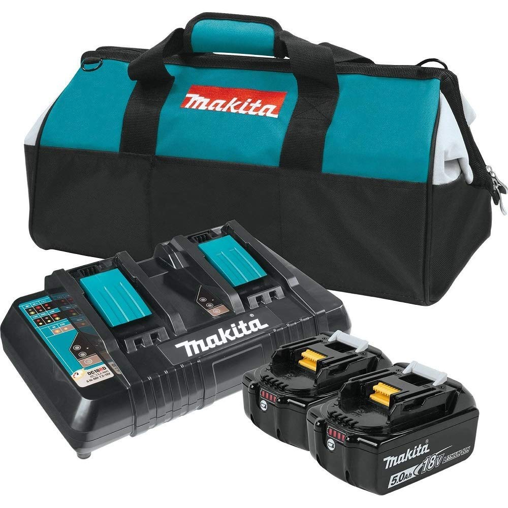 Makita BL1850B2DC2X 18V LXT Lithium-Ion Battery & Dual Port Charger Starter Pack (5.0Ah) (Renewed)