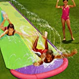 Giant Double Lawn Water Slide 16ft Slip and Slide Play Center Slide Water Spraying and Crash Pad for Kids Children…