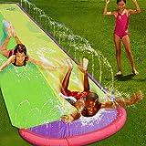 منزلقة ماء كبيرة صيفية مزدوجة توضع على العشب في الفناء الخلفي بطول 16 قدم لعبة منزلقة الماء ووسادة مطاطية للاطفال، العاب في الهواء الطلق