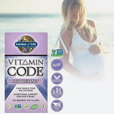 Amazon.com: Garden Of Life Vegetarian Prenatal Multivitamin Supplement With  Folate   Vitamin Code Raw Prenatal Whole Food Vitamin For Mom And Baby, ...