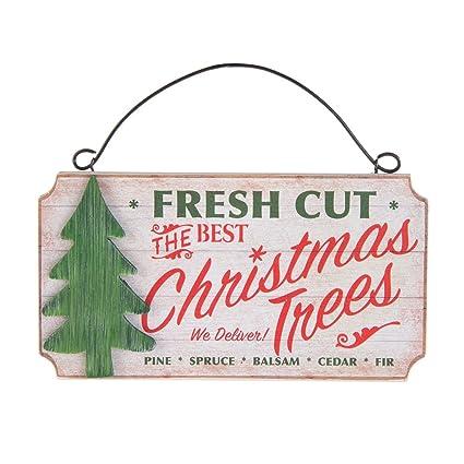 Fresh Cut Christmas Trees Sign.Amazon Com Midwest Cbk 6 5 X3 5 Mdf Wood Sign Fresh Cut