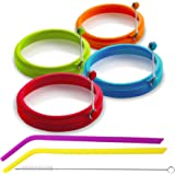 Eggssentials Silicone Egg Rings for Frying Eggs or Pancakes Round Egg Ring Mold Perfect for Fried Egg Comes with 2 Bonus Silicone Straws and a Cleaner Non-Stick BPA Free