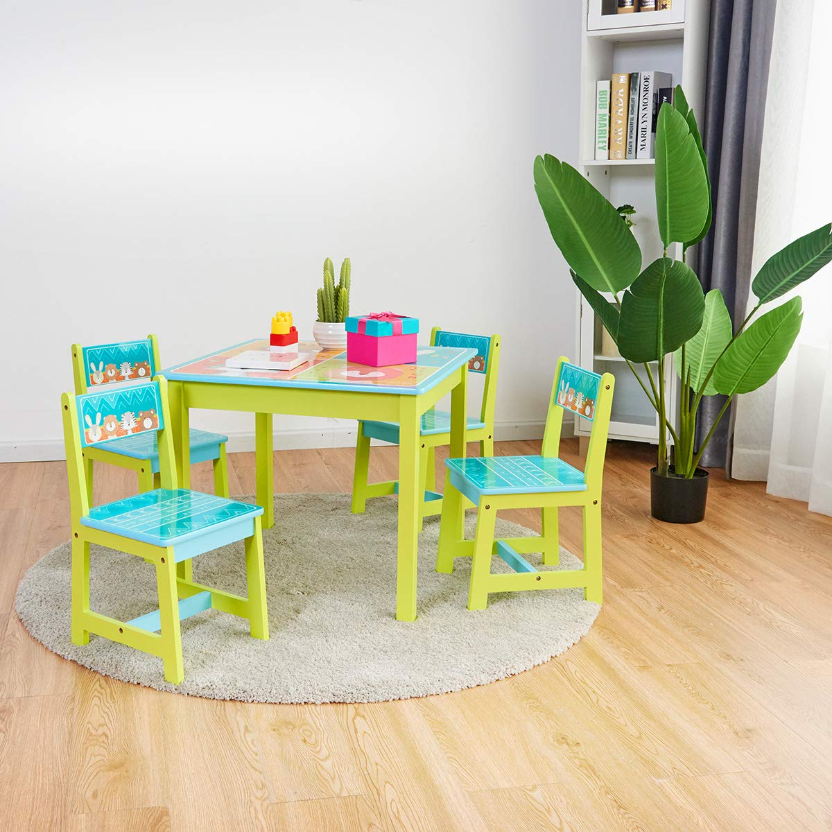 BABY JOY Kids Table and 4 Chairs Set, Wooden MDF Desk for Studying Playing Dining Indoors & Outdoors Activity, Toddler Baby Gift Desk Furniture Cartoon Pattern (Table and 4 Chairs) by BABY JOY (Image #8)