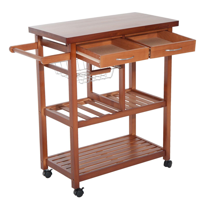 homcom 05-0014,carrello da cucina, in legno, colore: naturale, 81x 38x 85,5cm