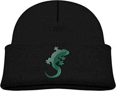 XKAWPC Green Lizard Knitted Hat Soft Skull Beanies Kids Cuffed Plain Cap