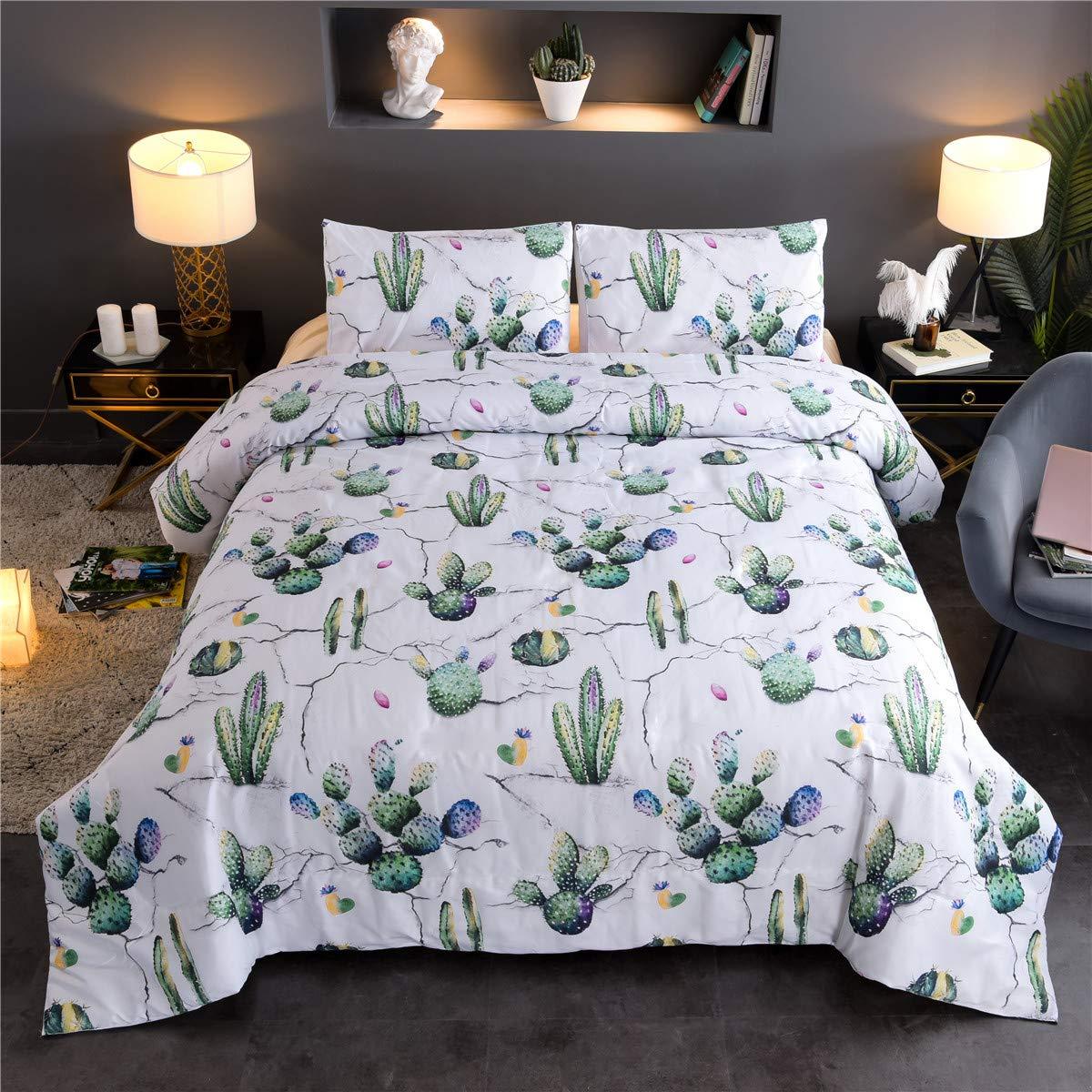 Argstar 2 Pcs Twin Cartoon Duvet Covers, 3D Cactus Bedding Set, Green Plants Down Comforter Cover, Tropical Succulent Plants Quilt Cover, 100% Microfiber, 1 Duvet Cover and 1 Pillow Sham
