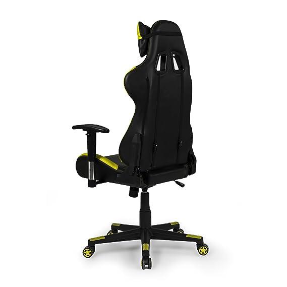 Due-home - Silla ergonomica de oficina gaming Silverstone, sillón giratorio para escritorio, estudio o despacho color Amarillo, medidas: 67x124x68 cm de ...