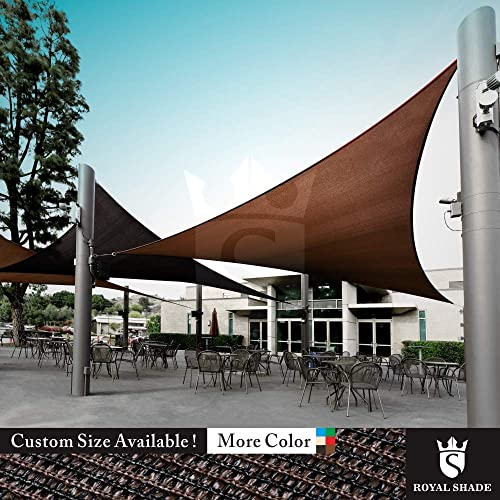 Royal Shade Custom Size Order to Make Sun Shade Sail Canopy Mesh Fabric UV Block Triangle – Commercial Standard Heavy Duty – 200 GSM – 5 Years Warranty Right Triangle 24 x 24 x 33.9 , Beige