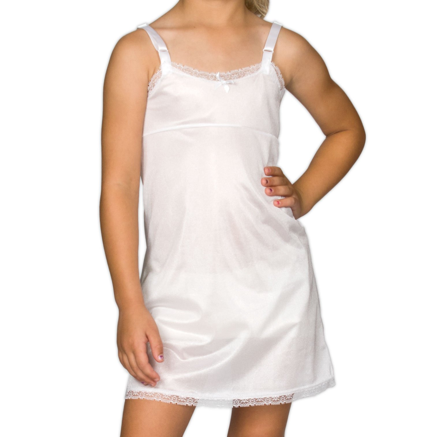 I.C. Collections Little Girls White Simple Empire Waist Slip, 4